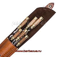 Набор шампуров с деревянными ручками купить недорого в Москве. Подарочные наборы шампуров для мангалов, грилей. Подарок для мужчин