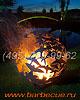 Фото: кованая костровая чаша и сфера для огня. Сферы для огня из металла. Купить огненные шары недорого.