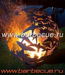 Костровая чаша для огня Fire Pit. Огненный шар из стали. Огненная сфера для дачи - подарок необычный недорого в Москве.