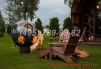 Украшение садового участка - сфера для огня. Недорого. Садовая мебель. Фото